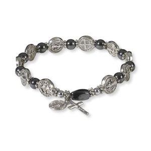 Hemetite with pearl miraculous medal bracelet